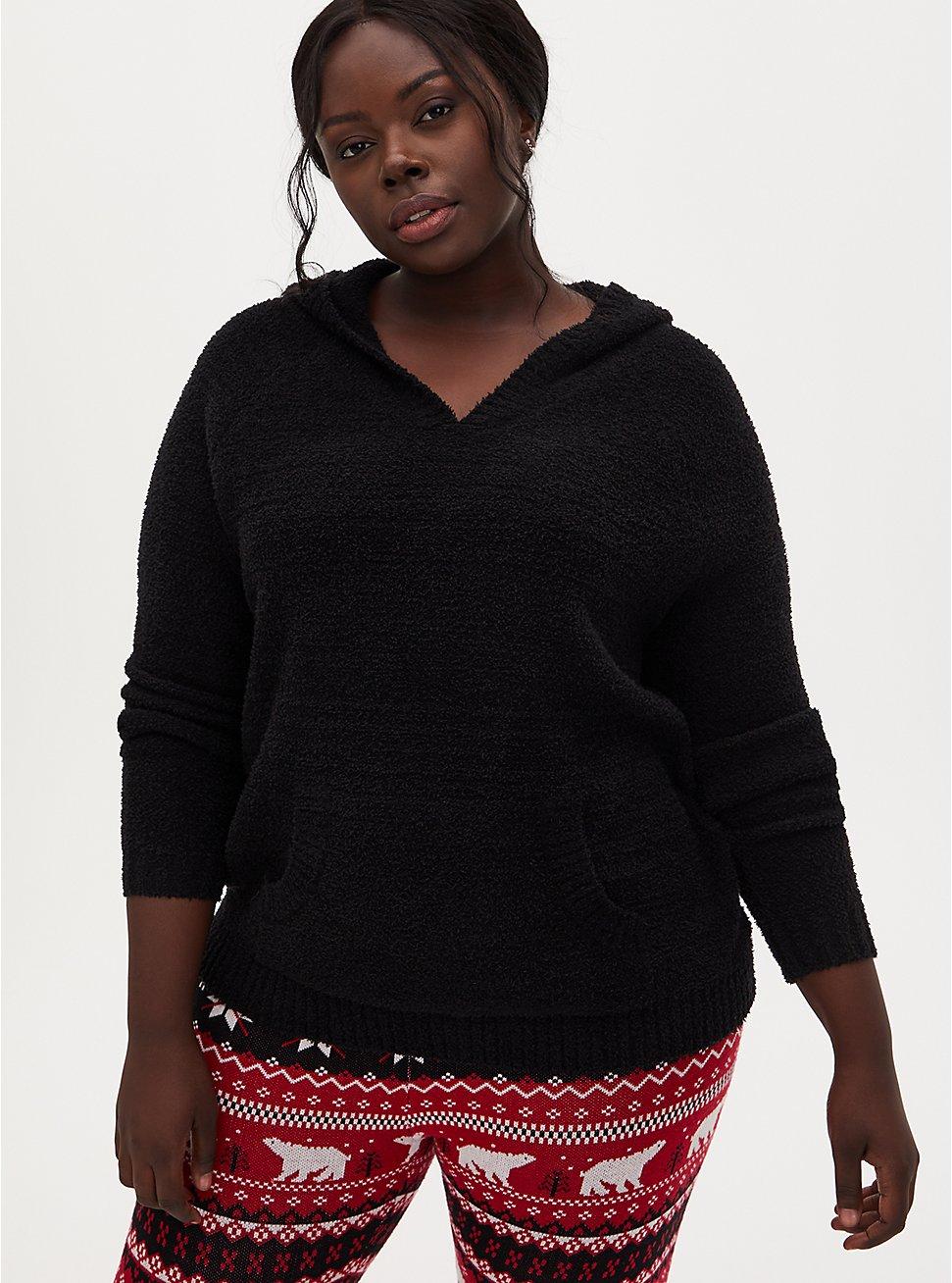Black Fuzzy Knit Teddy Hoodie, DEEP BLACK, hi-res