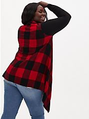 Red Plaid Drape Front Cardigan, PLAID - RED, alternate
