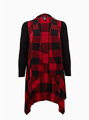 Red Plaid Drape Front Cardigan, PLAID - RED, hi-res