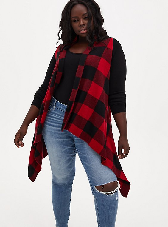 Red Plaid Drape Front Cardigan, , hi-res