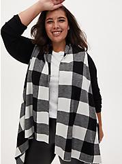 Black & White Plaid Drape Front Cardigan Coat, PLAID - WHITE, alternate
