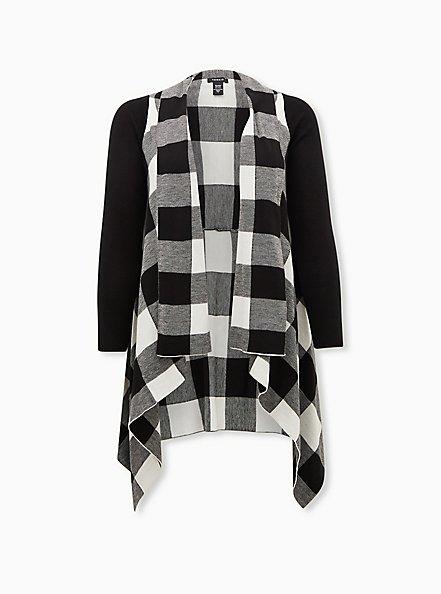 Black & White Plaid Drape Front Cardigan Coat, PLAID - WHITE, hi-res