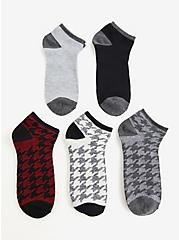 Houndstooth Multicolor Ankle Socks Pack - Pack of 5, MULTI, hi-res