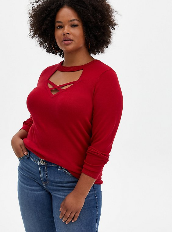 Red Strappy Cage Pullover Sweater, , hi-res