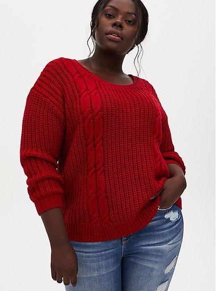 Red Fisherman Tie Back Sweater, JESTER RED, alternate
