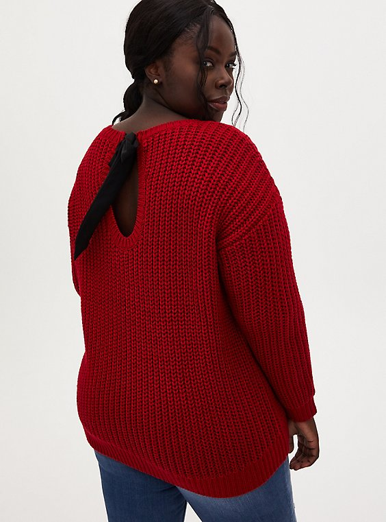 Red Fisherman Tie Back Sweater, , hi-res