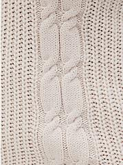 Ivory Fisherman Tie-Back Pullover Sweater, IVORY, alternate