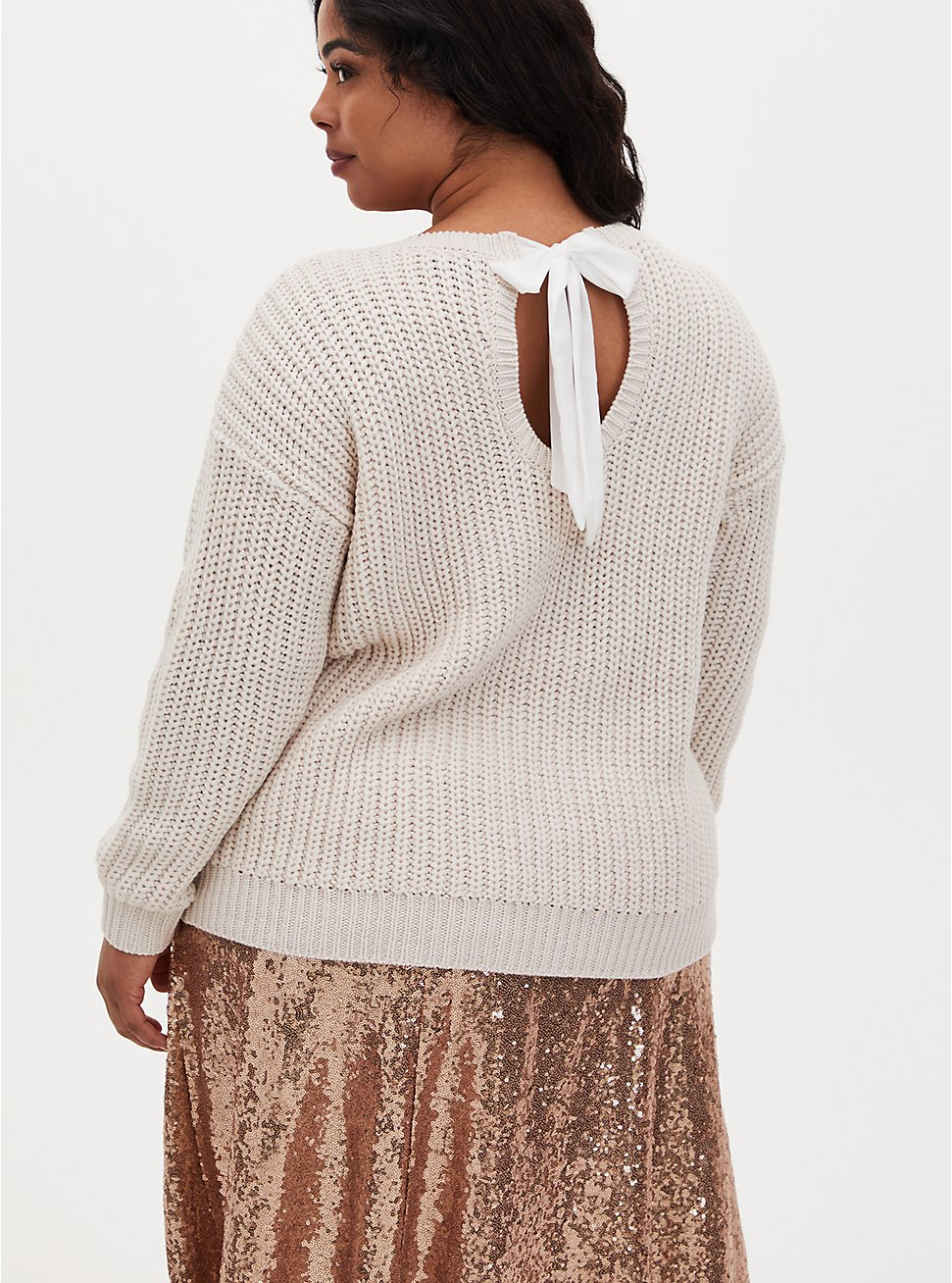 Ivory Fisherman Tie-Back Pullover Sweater, IVORY, hi-res