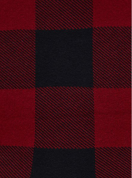 Dark Red & Black Plaid Cotton Pullover Sweater, PLAID - RED, alternate