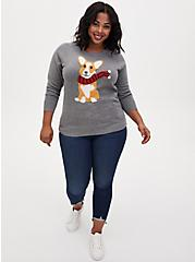 Grey Corgi Pullover Graphic Sweater, GREY, alternate