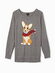 Grey Corgi Pullover Graphic Sweater, GREY, hi-res