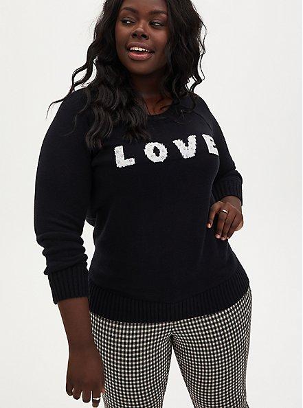 Love Embellished Black Pullover Sweater, DEEP BLACK, alternate