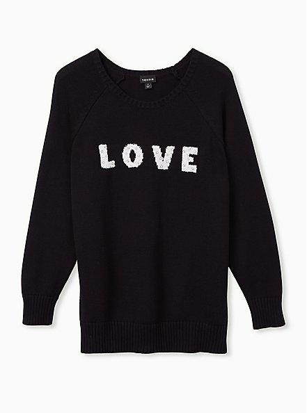 Love Embellished Black Pullover Sweater, DEEP BLACK, hi-res