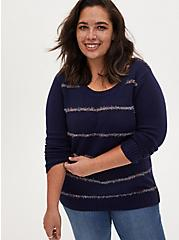 Navy Tinsel Stripe Holiday Sweater, MULTI STRIPE, alternate
