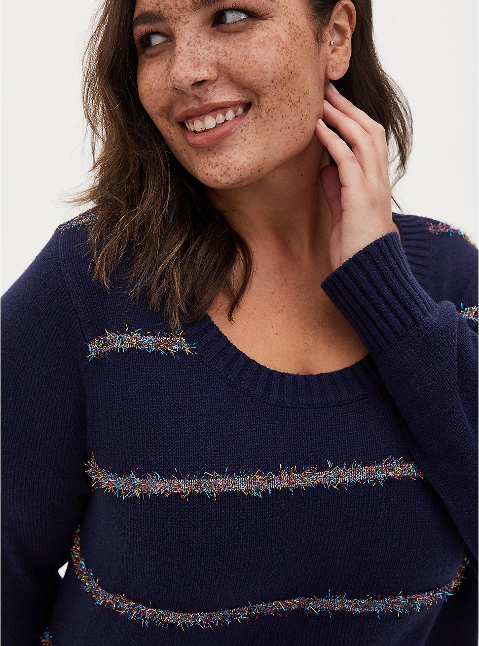 Navy Tinsel Stripe Holiday Sweater, MULTI STRIPE, hi-res