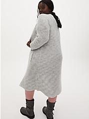 Light Grey Open Front Duster Cardigan, GREY, alternate