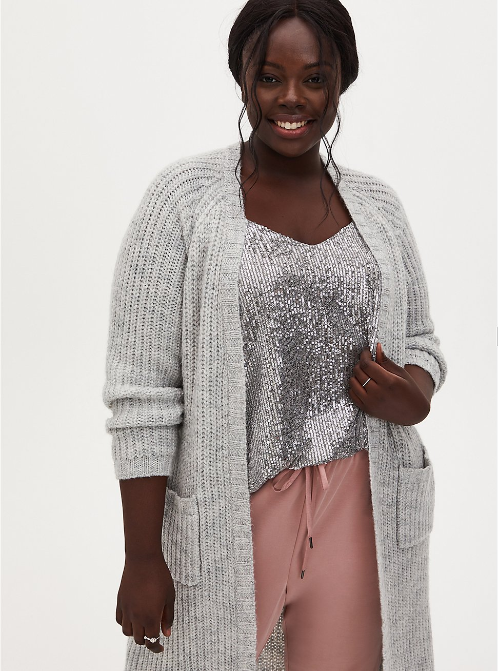 Light Grey Open Front Duster Cardigan, GREY, hi-res