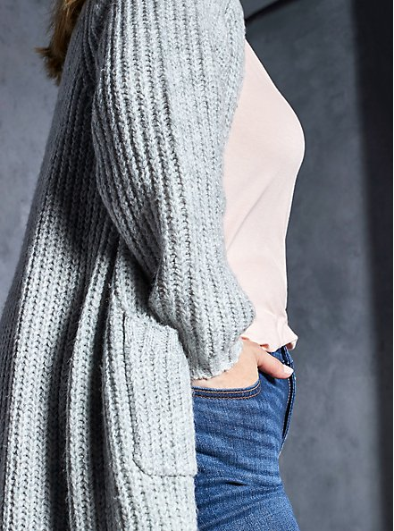 Plus Size Light Grey Open Front Duster Cardigan, GREY, hi-res