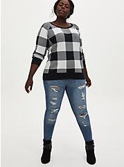 Black & White Plaid Cotton Sweater, PLAID - WHITE, alternate
