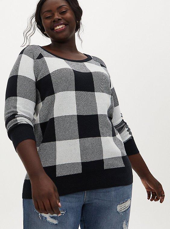 Black & White Plaid Cotton Sweater, PLAID - WHITE, hi-res