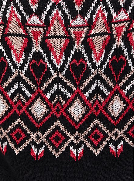 Black Fair Isle Pullover Sweater, OTHER PRINTS, alternate