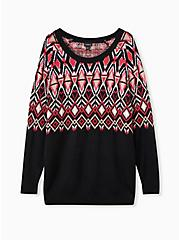 Black Fair Isle Pullover Sweater, OTHER PRINTS, hi-res