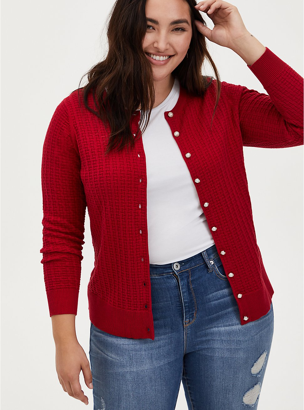 Red Woolen Waffle Knit Jeweled Button Front Cardigan, JESTER RED, hi-res