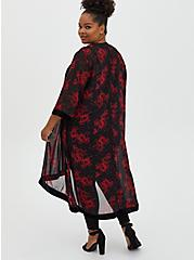 Red Floral Velvet Trim Hi-Lo Kimono , FLORAL - RED, alternate