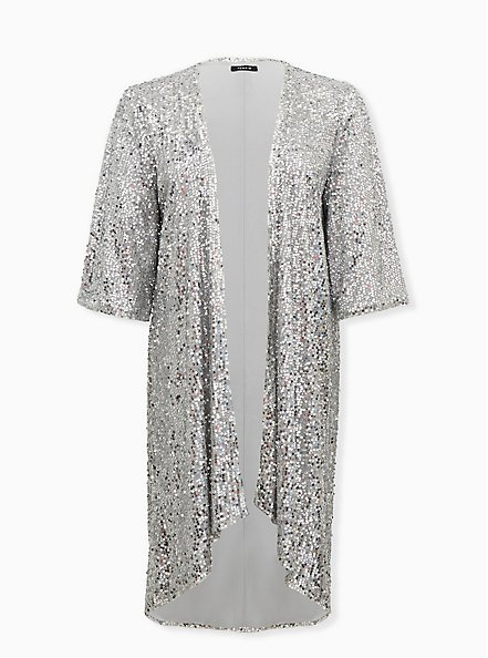 Silver Sequin Open Front Hi-Lo Kimono , SILVER, hi-res