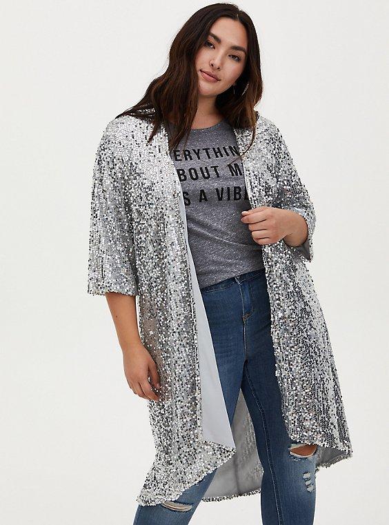 Silver Sequin Open Front Hi-Lo Kimono , , hi-res
