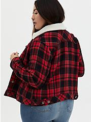 Red Plaid Brushed Twill & Faux Fur Collar Trucker Jacket , PLAID - RED, alternate