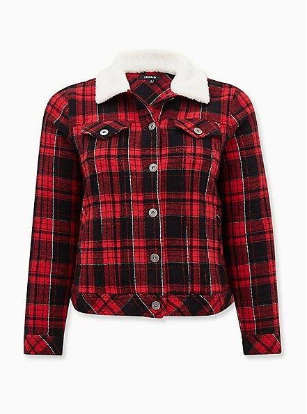 Red Plaid Trucker Jacket , PLAID - RED, hi-res