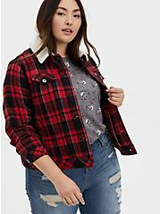 Red Plaid Brushed Twill & Faux Fur Collar Trucker Jacket , PLAID - RED, hi-res