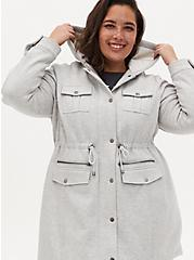 Grey Faux Fur Lined Fleece Anorak , HEATHER GREY, alternate