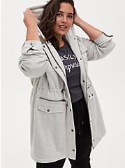 Grey Faux Fur Lined Fleece Anorak , HEATHER GREY, hi-res