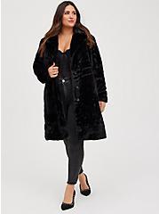 Black Plush Faux Fur Coat, DEEP BLACK, alternate