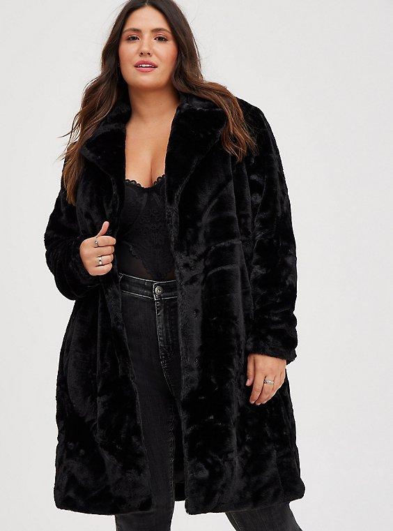 Black Plush Faux Fur Coat, , hi-res