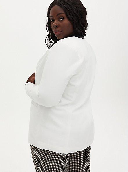 White Blazer With Black Sequin Trim, IVORY, alternate