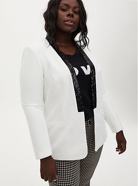 White Blazer With Black Sequin Trim, IVORY, hi-res