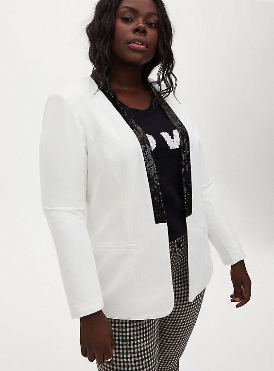 White Blazer With Black Sequin Trim, , hi-res