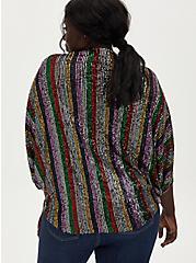 Plus Size Rainbow Sequin Coccoon Kimono , RAINBOW, alternate