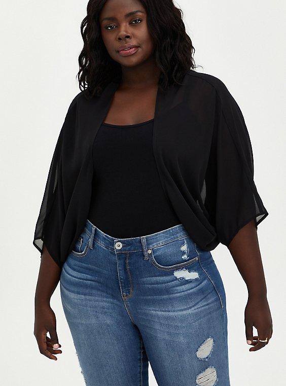 Black Chiffon Cocoon Kimono , , hi-res