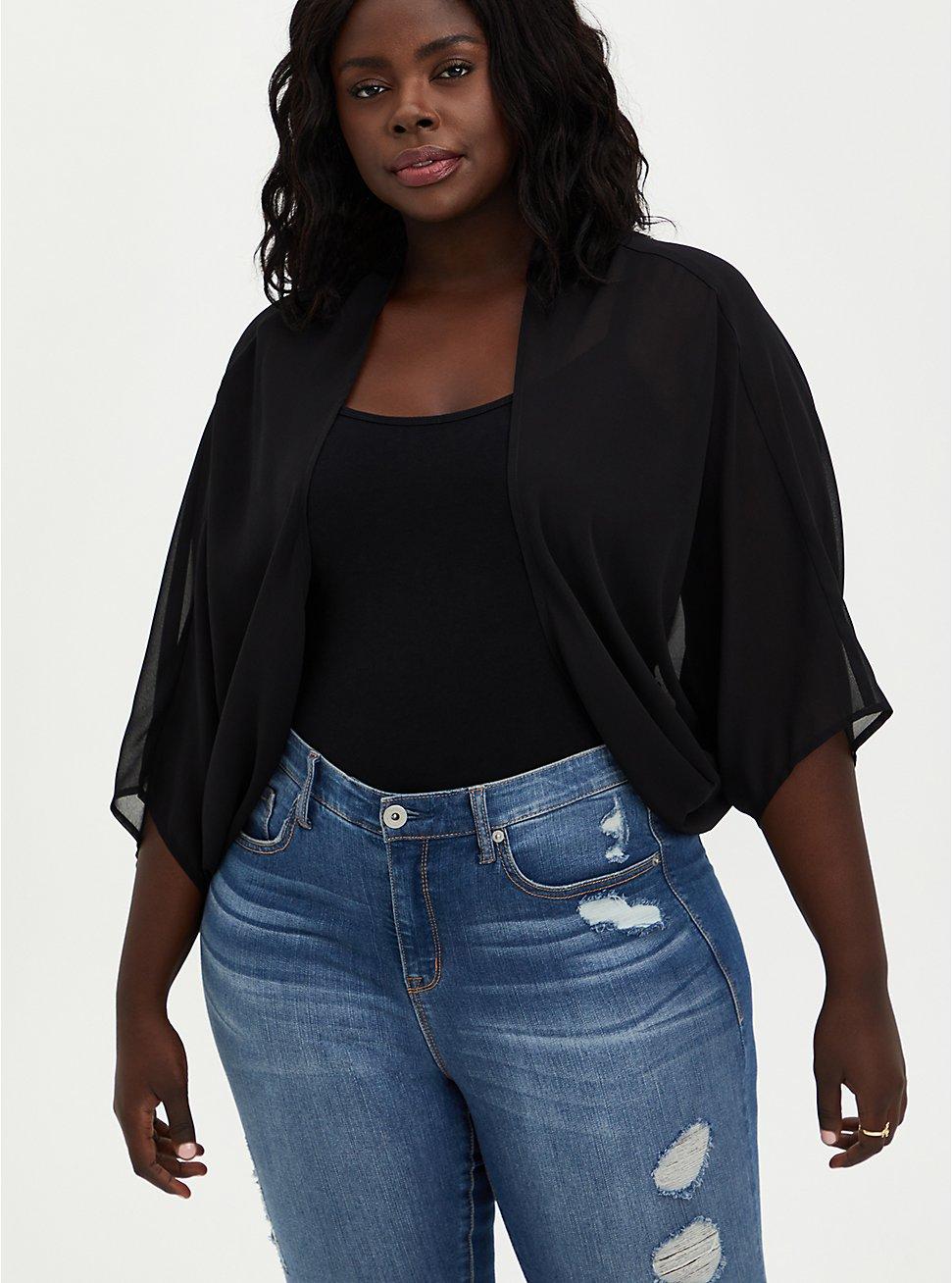 Black Chiffon Cocoon Kimono , DEEP BLACK, hi-res