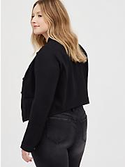 Black Ponte Cropped Military Jacket, DEEP BLACK, alternate