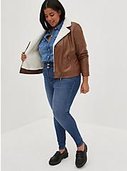 Cognac Faux Leather Sherpa Lined Moto Jacket, COGNAC, alternate