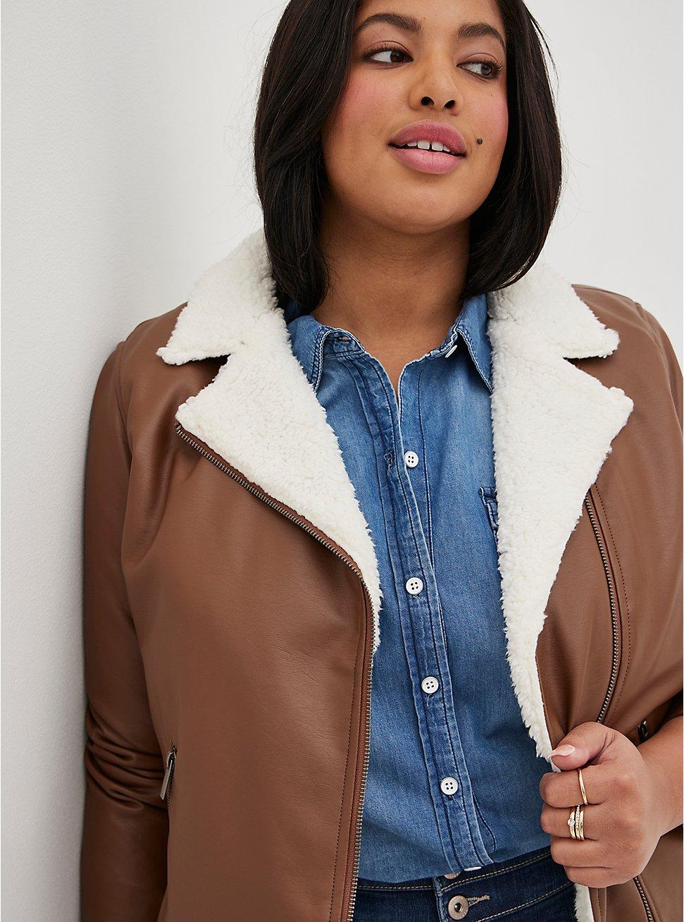 Cognac Faux Leather Sherpa Lined Moto Jacket, COGNAC, hi-res