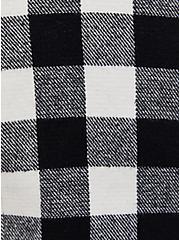 Black Plaid Brushed Twill & Faux Fur Collar Trucker Jacket , PLAID - BLACK, alternate