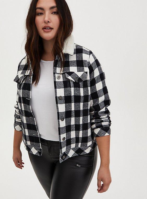 Black Plaid Brushed Twill & Faux Fur Collar Trucker Jacket , , hi-res
