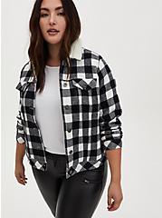 Black Plaid Brushed Twill & Faux Fur Collar Trucker Jacket , PLAID - BLACK, hi-res