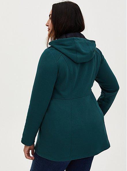Teal Fleece Hooded Toggle Coat, JUNEBUG, alternate